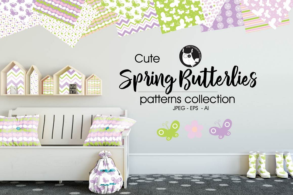 SPRING-BUTTERFLIES, digital papers example image 1