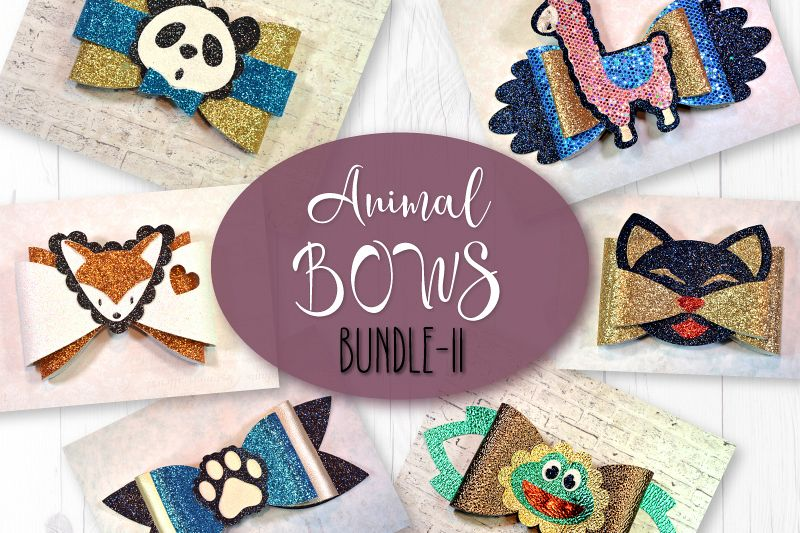 6 Hair bow template SVG, Animal faux leather bow template example image 1