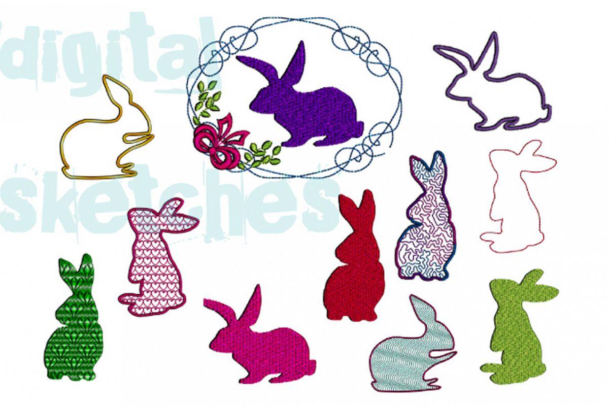 SET Bunny Bunnies Set Bundle Applique Design Embroidery example image 1