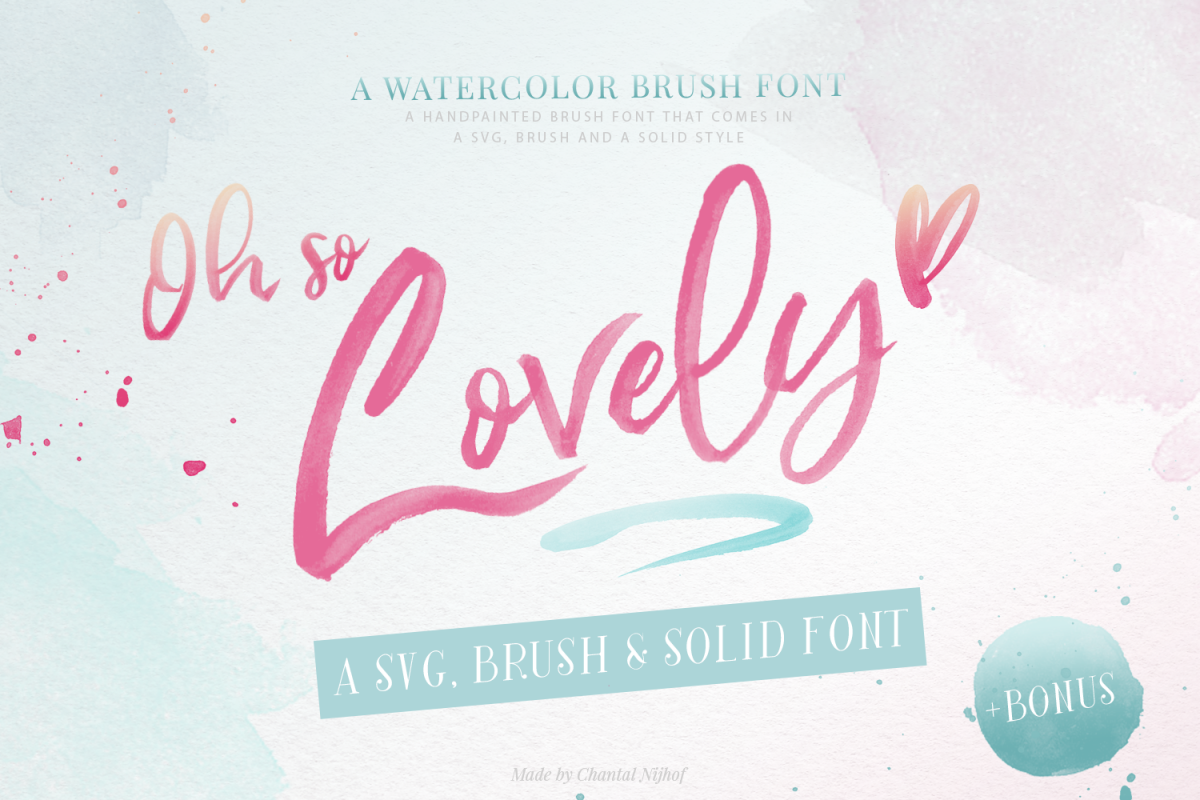Oh So Lovely Font a SVG Brush font example image 1