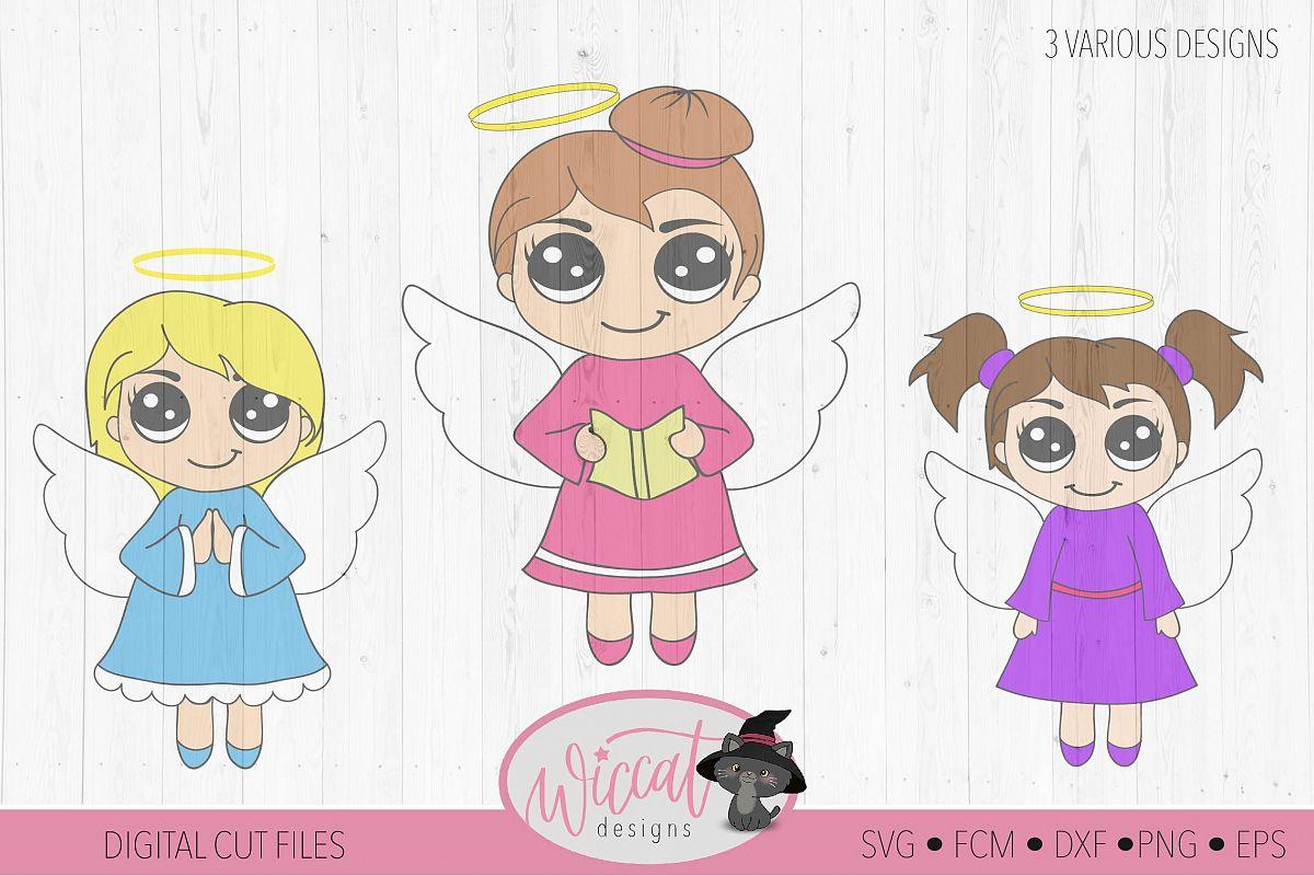 Three little angels, Angel bundle, Kawaii angel, Cute angel example image 1