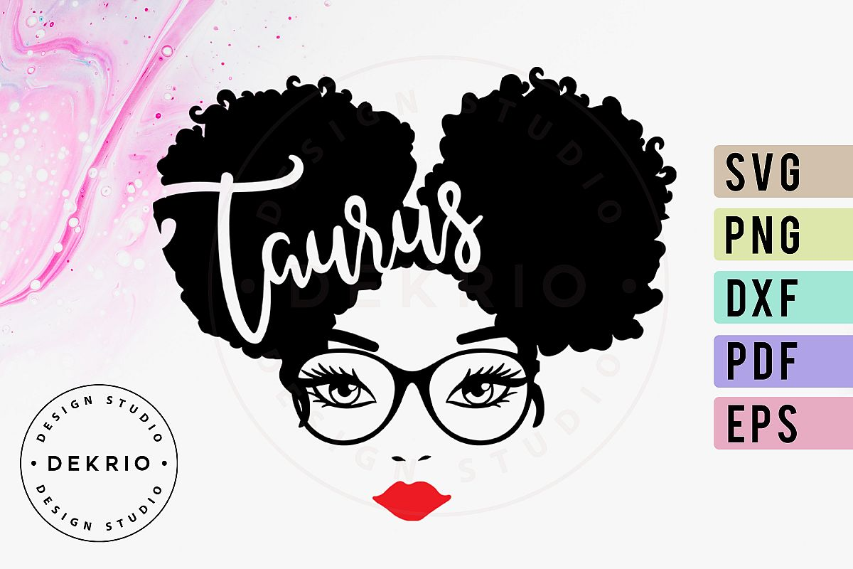 Taurus Afro Woman SVG PNG DXF EPS PDF Files example image 1