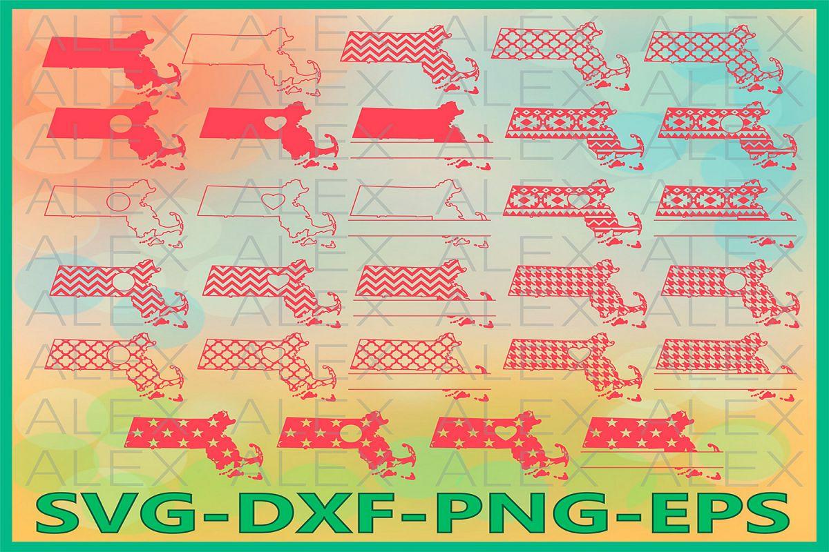 Massachusetts State SVG, Massachusetts SVG files for Cricut example image 1
