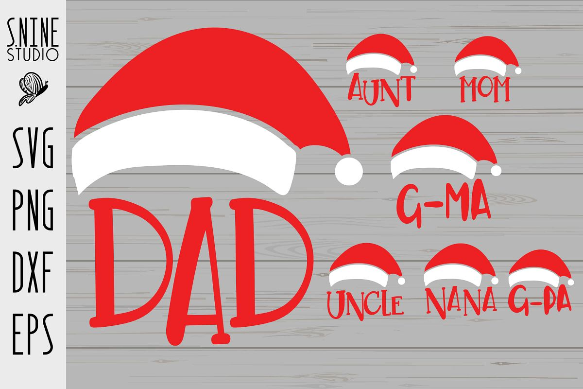 9ebef321c92e4 Family Santa Hat SVG Cut File example image 1