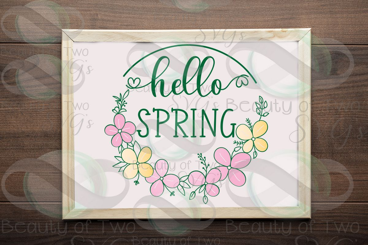Hello Spring Wreath svg, Spring Flowers svg, Spring svg example image 1