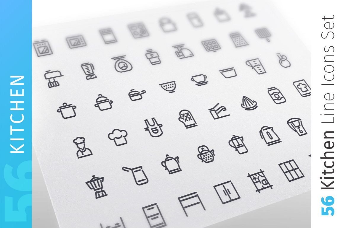 Kitchen Line Icons Set example image 1