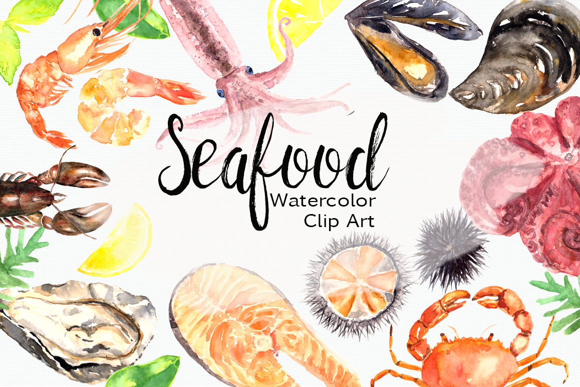 watercolor seafood clip art set by tati design bundles