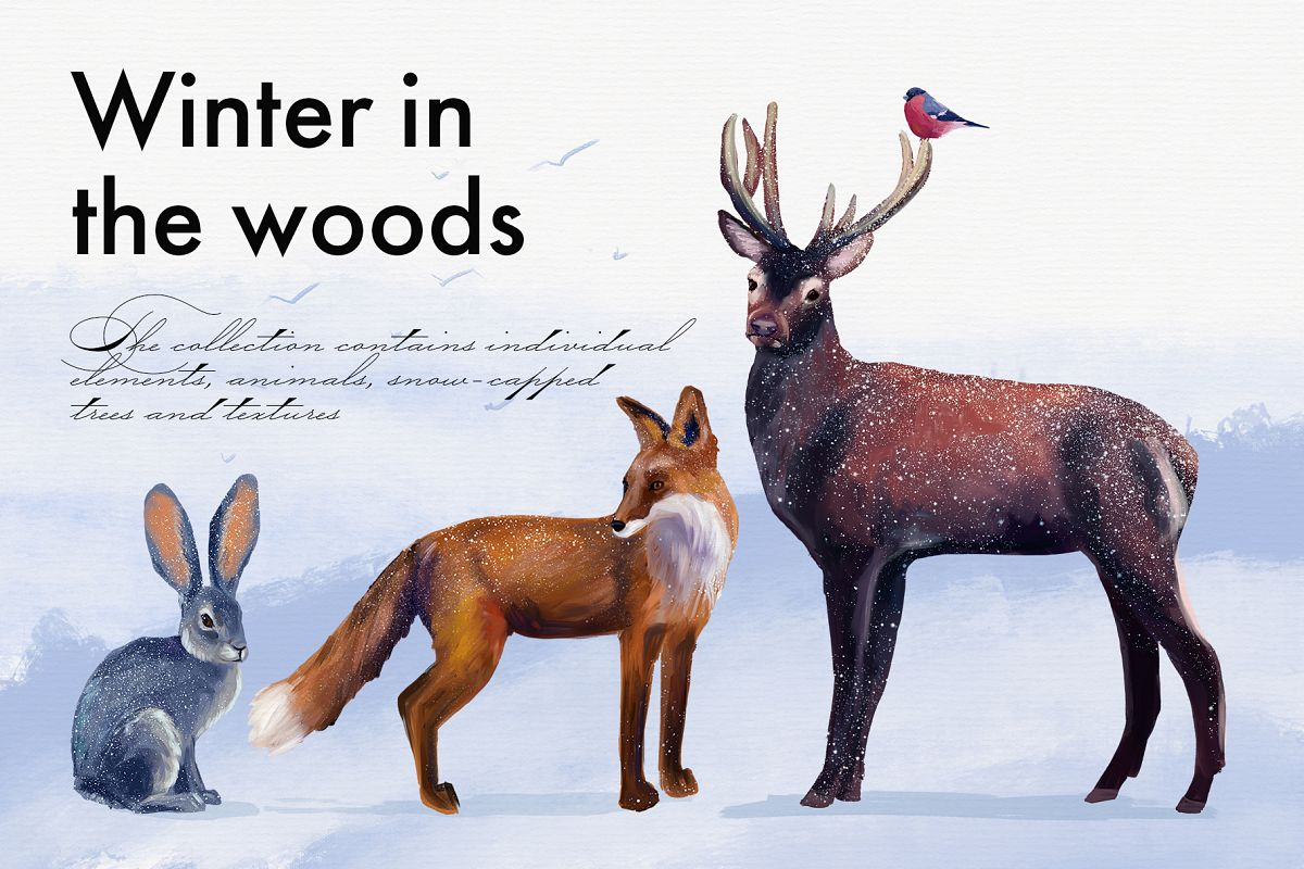 Realistic animals in the forest example image 1