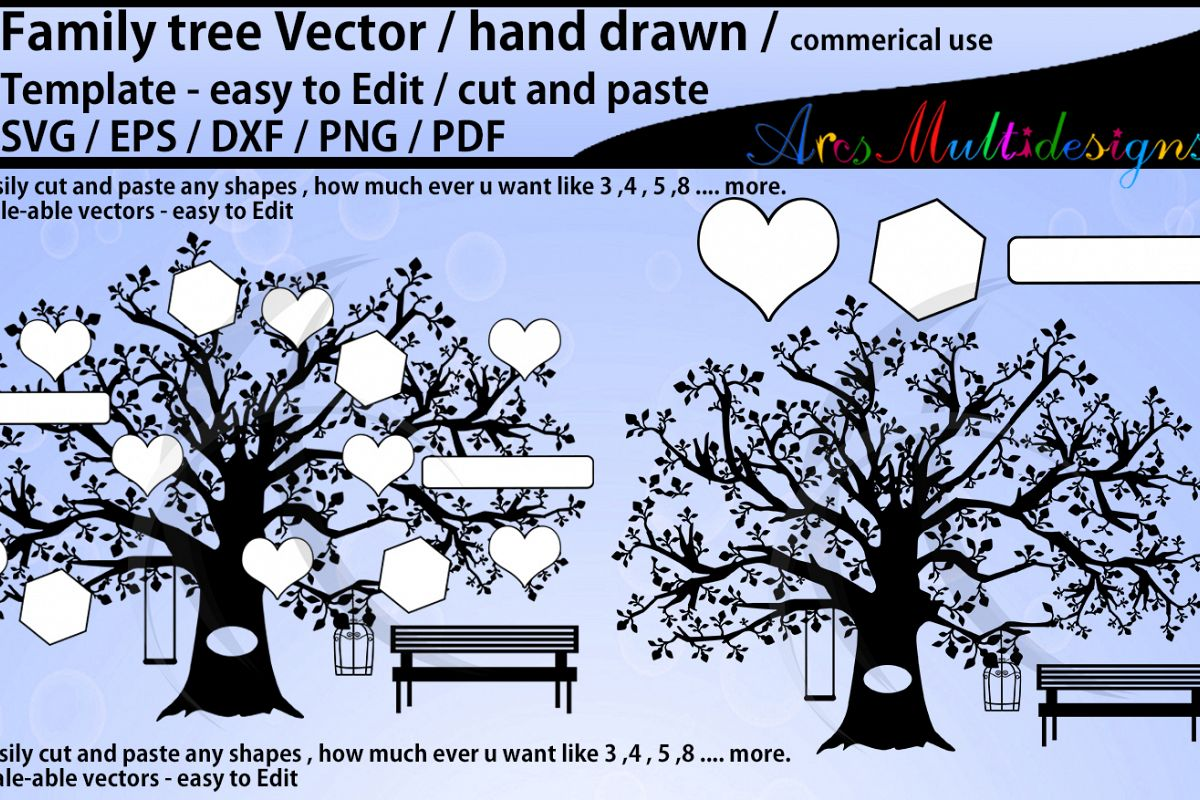 family tree clipart SVG template, EPS, Dxf, Png, Pdf, Jpg /family tree silhouette /hand drawn tree svg vector / Commerical & personal use example image 1