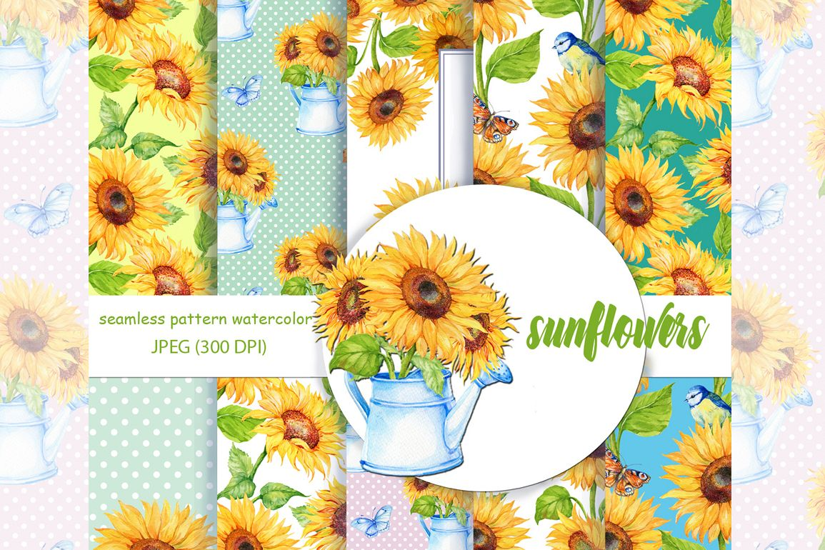 Watercolor Digital Paper Sunflower Pattern Sunflower Background
