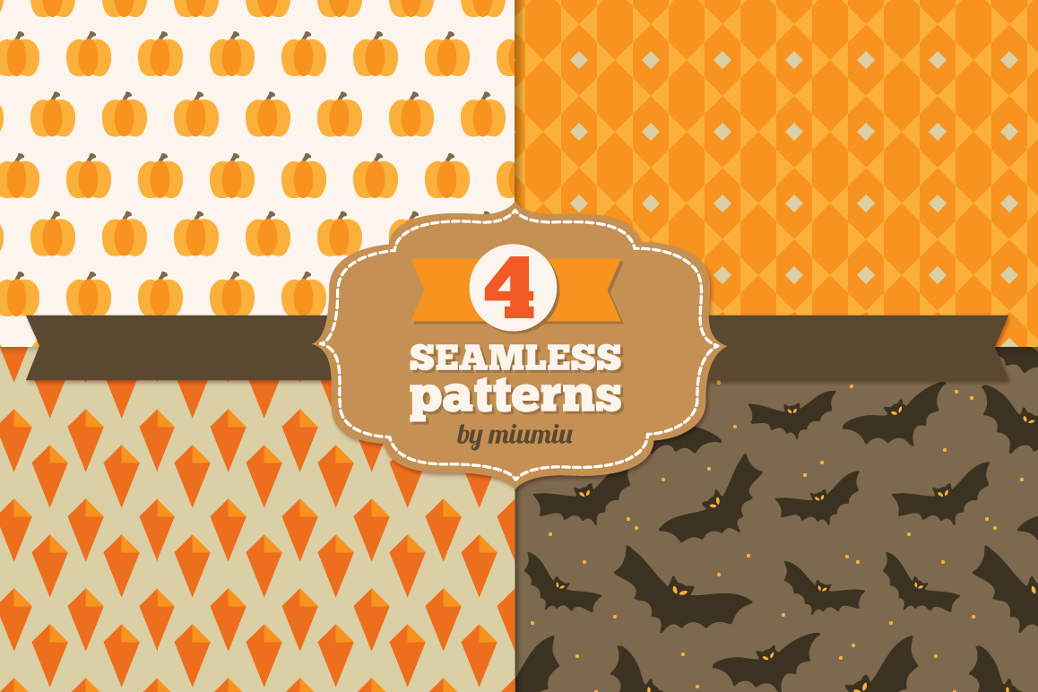 Halloween Seamless Patterns - set1 example image 1