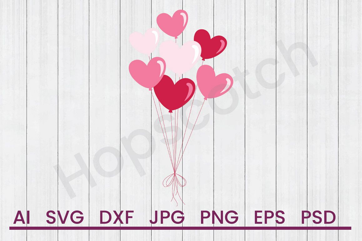 Heart Balloons SVG, DXF File, Cuttatable File example image 1