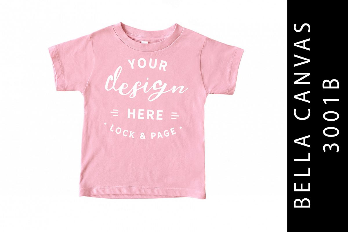 Pink Kids Bella Canvas 3001B T-Shirt Mockup Toddler example image 1