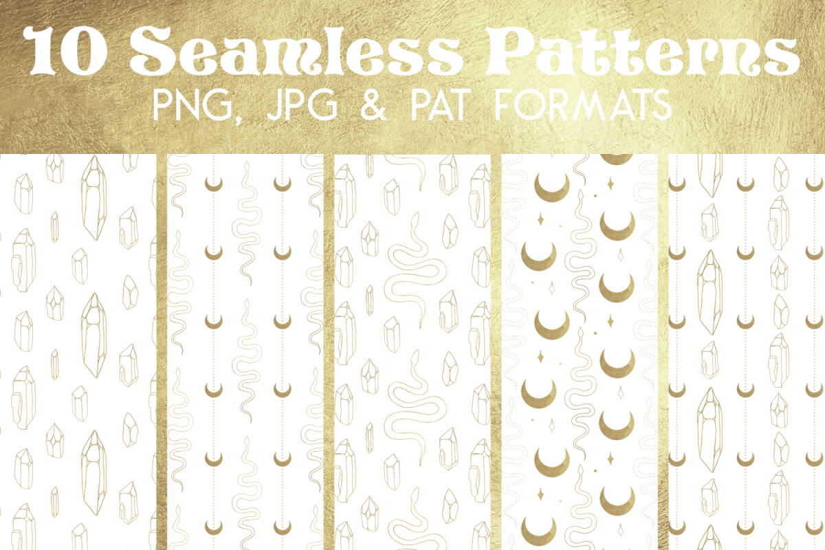 Gold White Snake Crystal Paper - Seamless Photoshop Pattern example image 1