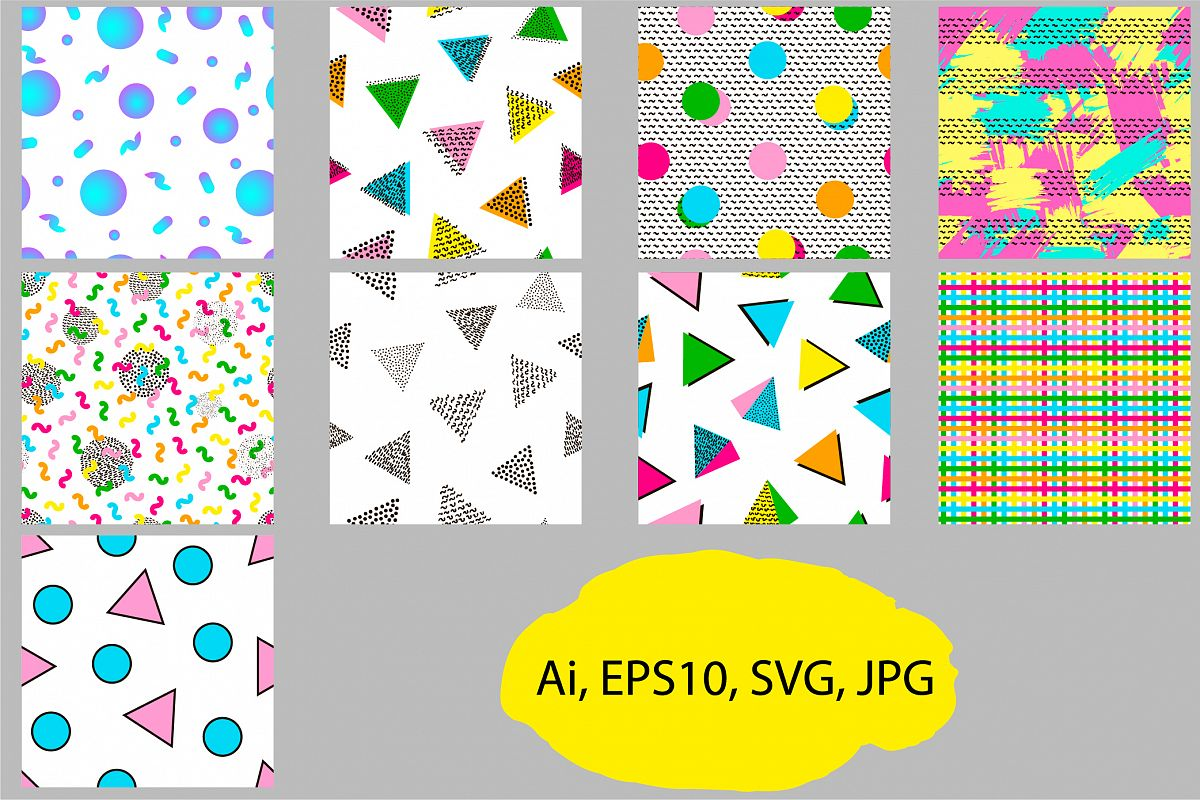 9 Geometric seamless patterns. Ai, EPS, JPG, SVG example image 1