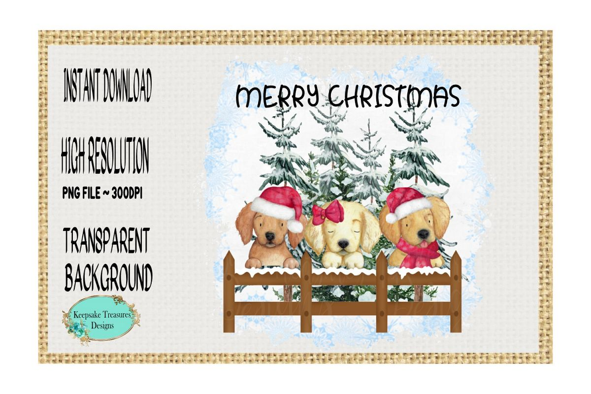 Merry Christmas Puppies example image 1