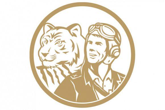 World War 2 Pilot Airman Tiger Gold Circle Retro example image 1