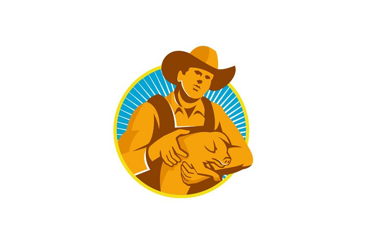Pig Farmer Holding Piglet Front Retro example image 1