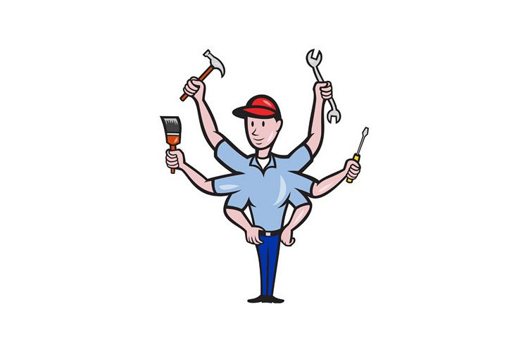 Tradesman Carpenter Mechanic Plumber Cartoon example image 1