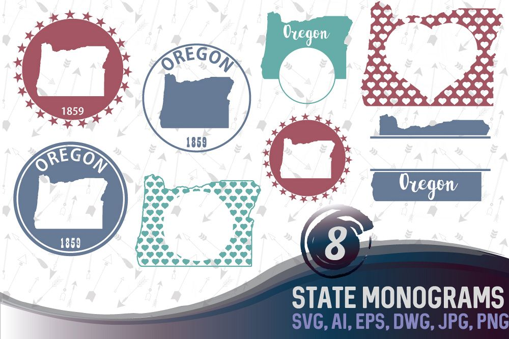 Oregon Monograms SVG, JPG, PNG, DWG, CDR, EPS, AI example image 1
