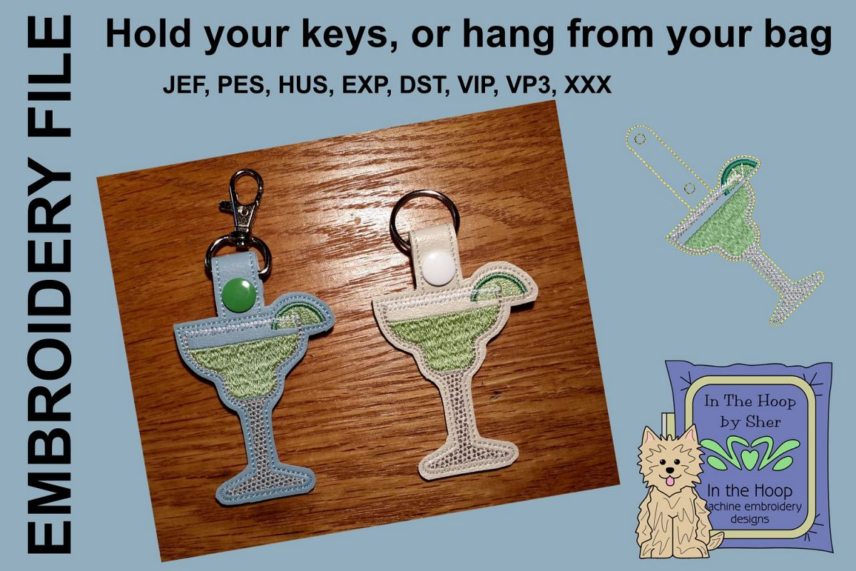 ITH Margarita Key Fob - Embroidery Design