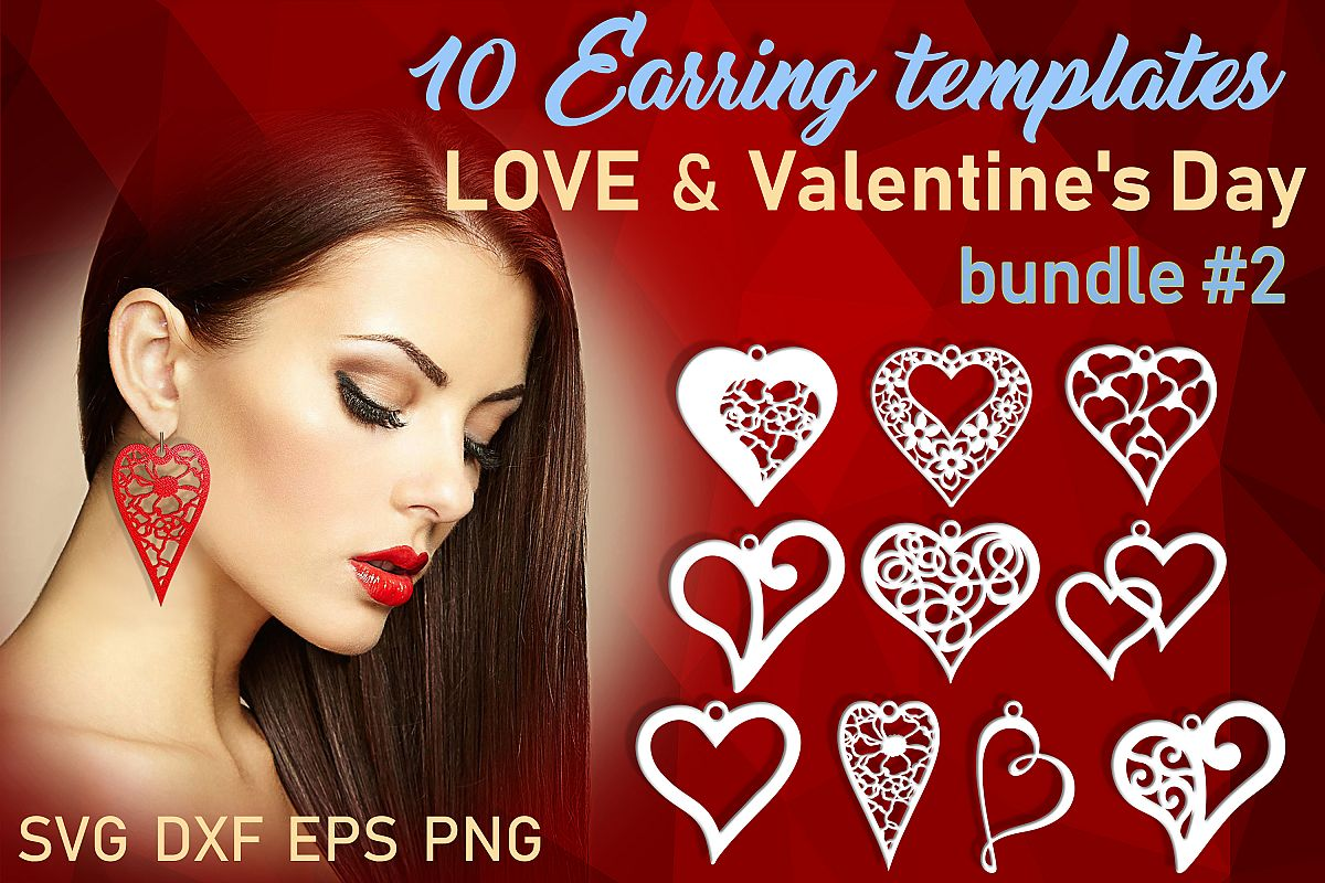 10 Valentine Love earrings svg Leather earrings svg Necklace example image 1