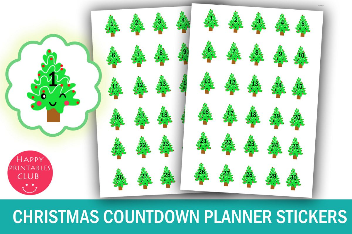 Kawaii Christmas.Kawaii Christmas Countdown Planner Stickers 30 Days Of Xmas