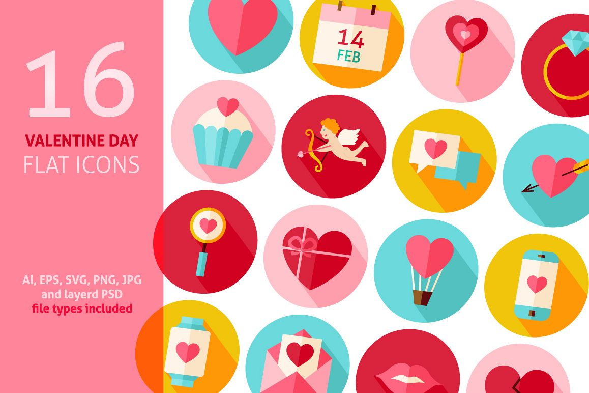 Valentine Day Vector Flat Icons example image 1