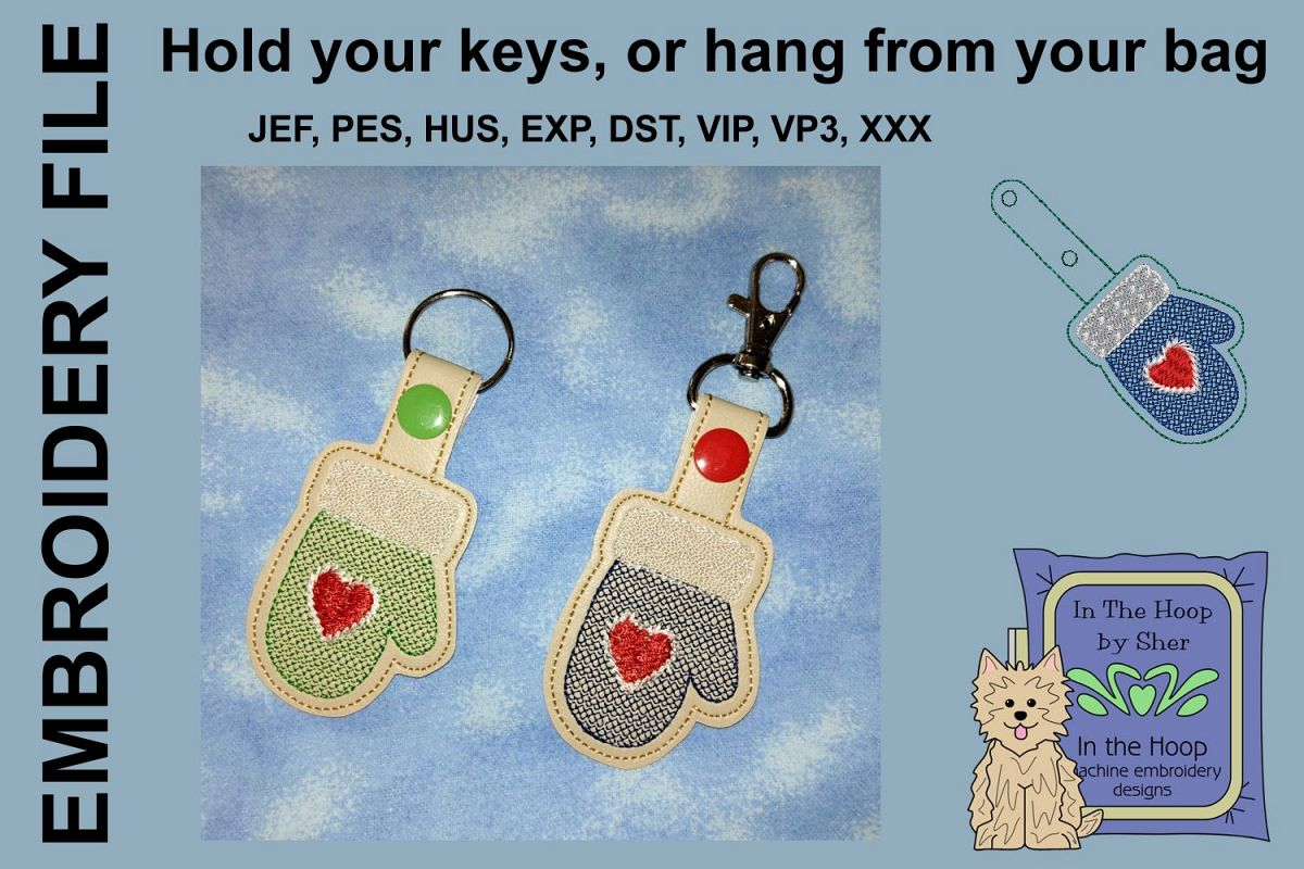 ITH Mitten Cookie Vinyl Key Fob or Bag Tag - Snap example image 1