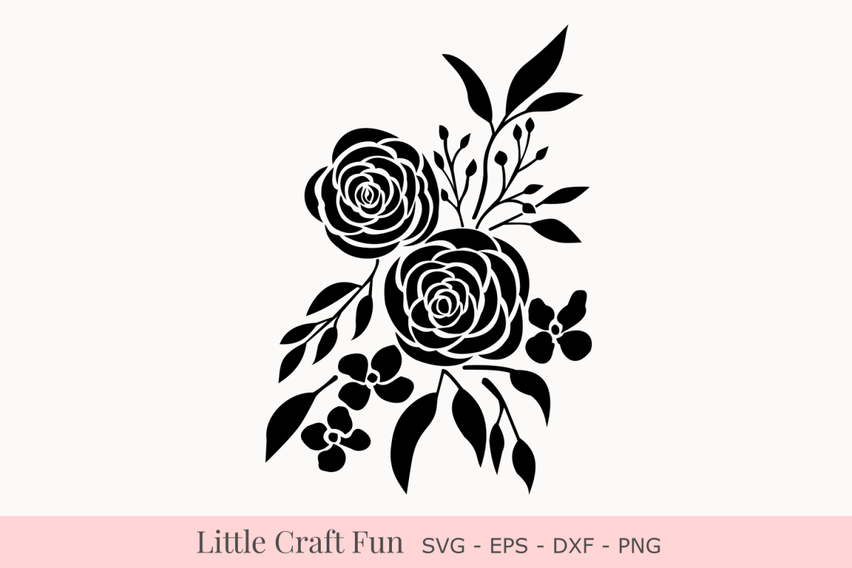 Rose Flowers Silhouette Svg Rose Florals Silhouette