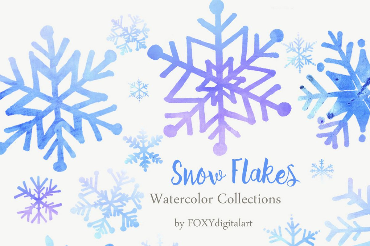 Snow watercolor. Christmas flakes clipart