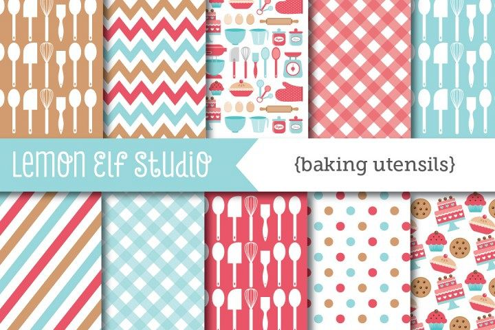 Baking Utensils-Digital Paper (LES.DP11) example image 1