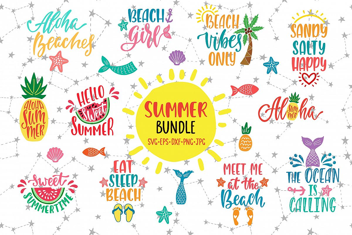 Summer Quotes Bundle SVG Vector Clip Art example image 1