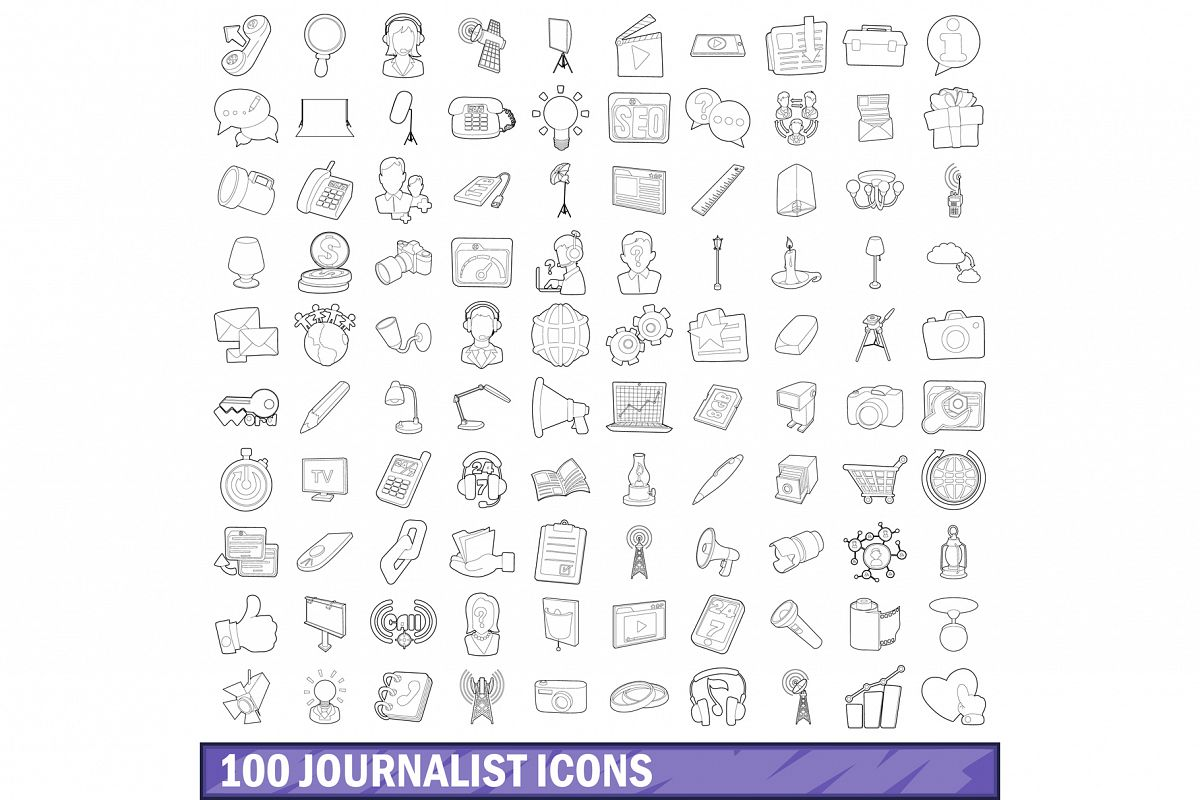 100 journalist icons set, outline style example image 1