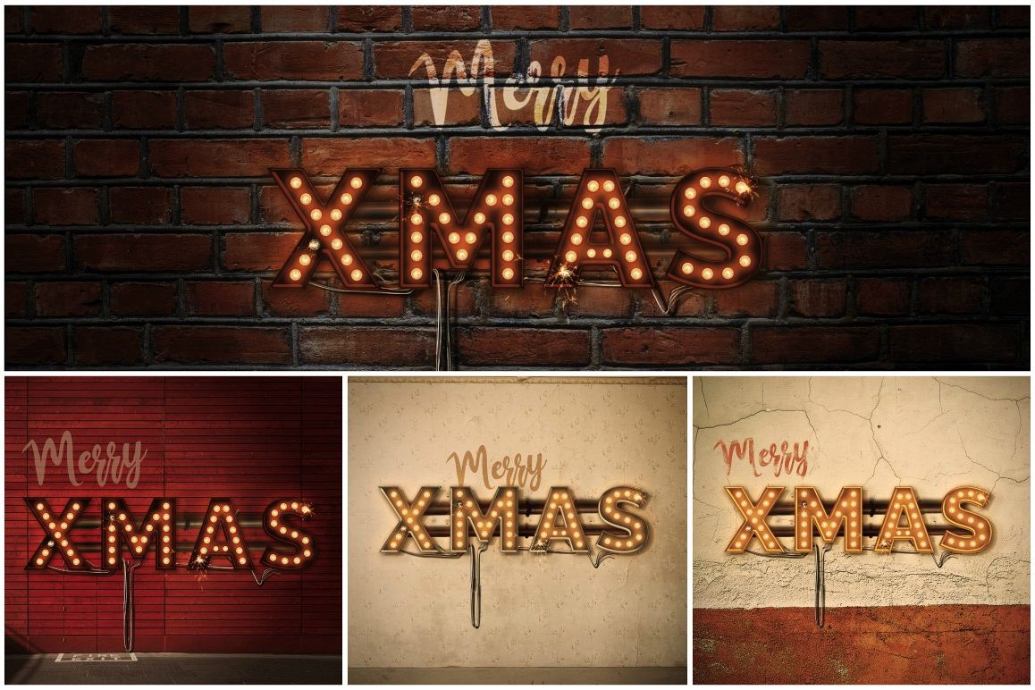 Lightbulb Merry Christmas Signs | 14-Image Bundle example image 1