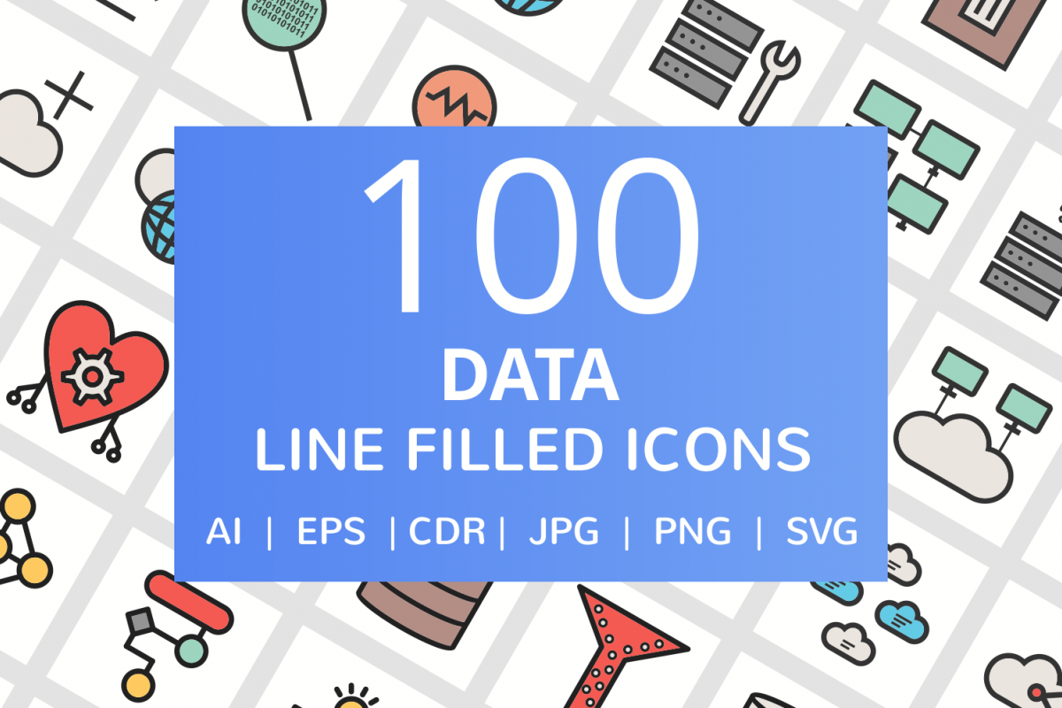 100 Data Filled Line Icons example image 1