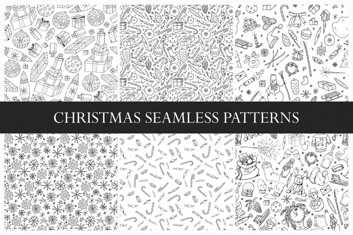 New Year seamless patterns example image 1