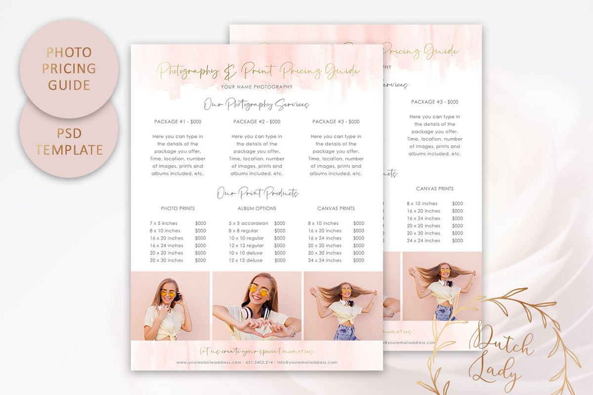 PSD Photography Pricing Guide Template Design #8 example image 1