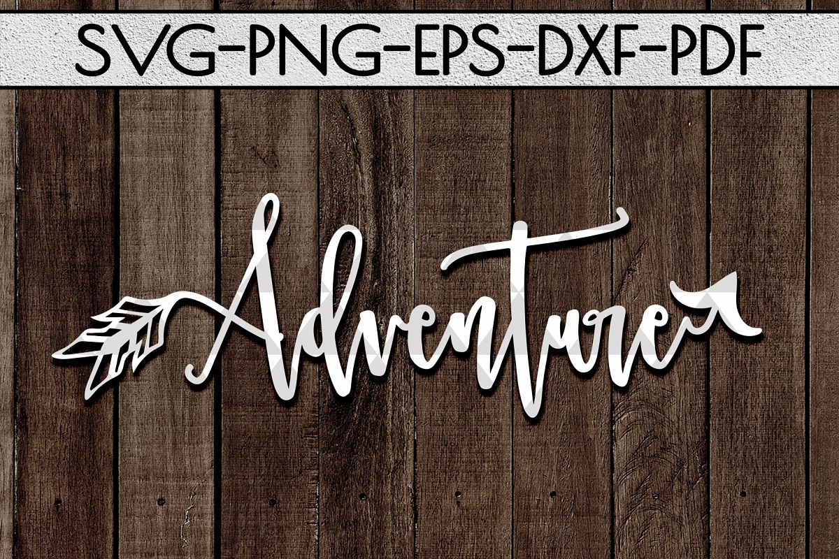 Adventure Sign Papercut Template, Summer Camper SVG, PDF DXF example image 1