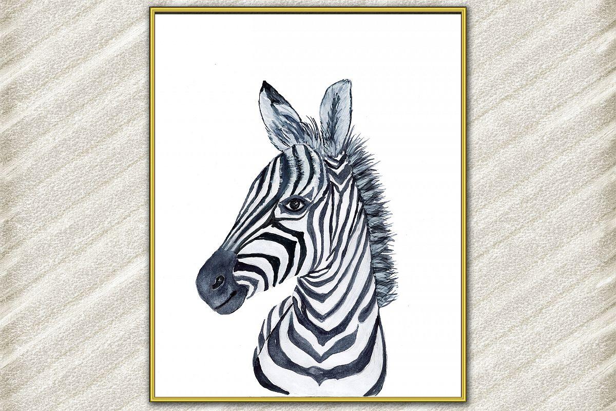 Zebra animal digital print, Safari Animals, Watercolor anima example image 1