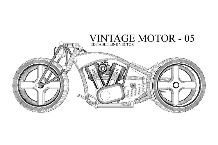 VINTAGE MOTOR 05 - LINE VECTOR example image 1