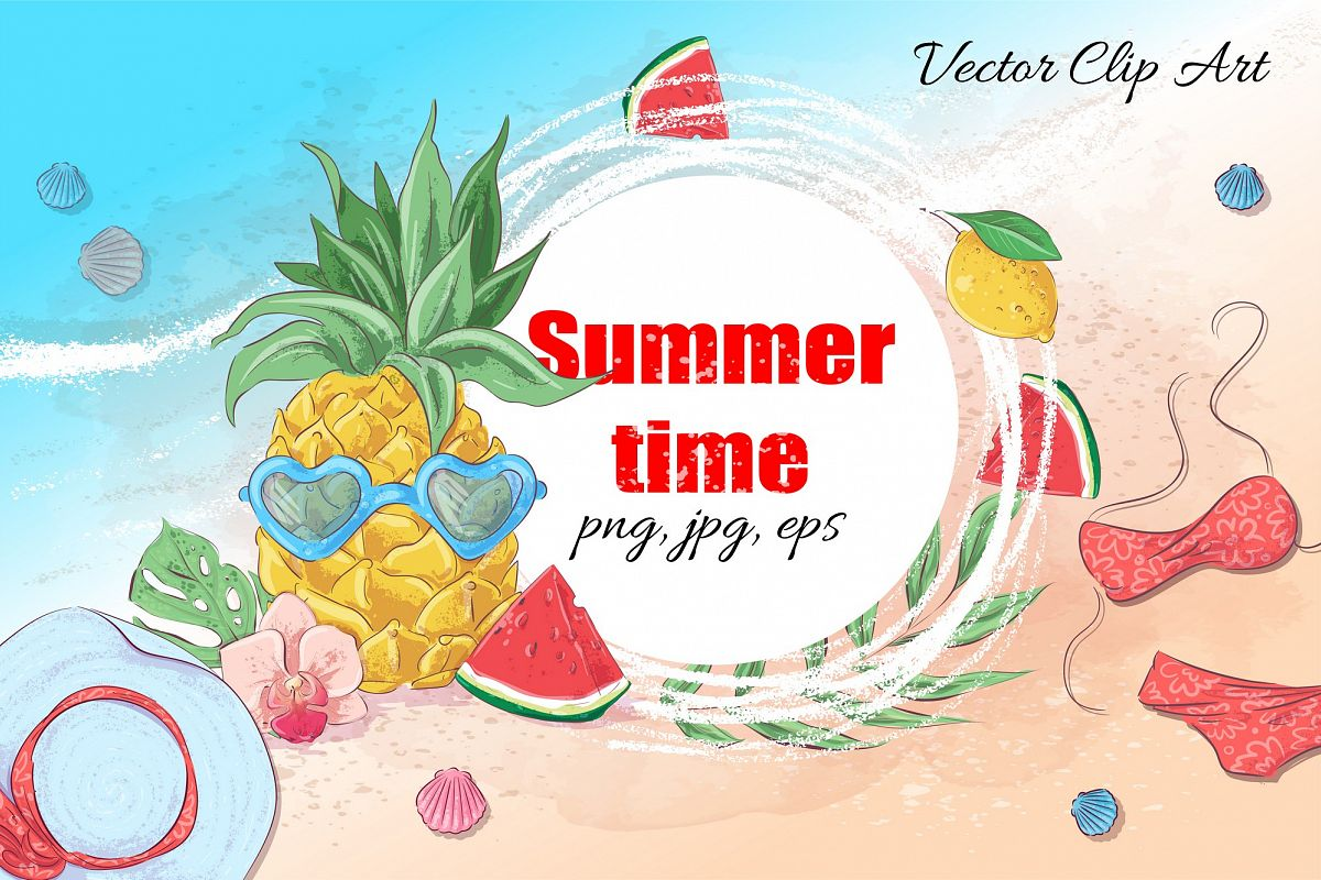 Summer time vector clip art example image 1