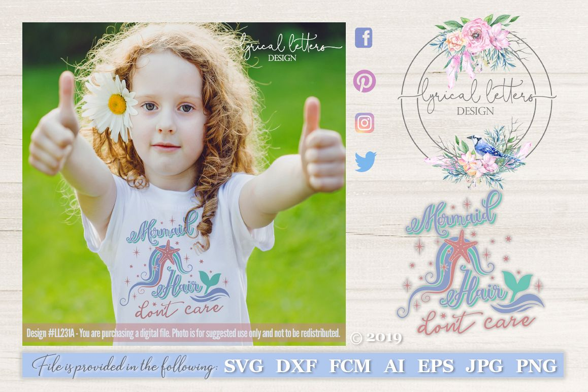 Mermaid Hair Don't Care SVG DXF FCM Cut File LL231A example image 1