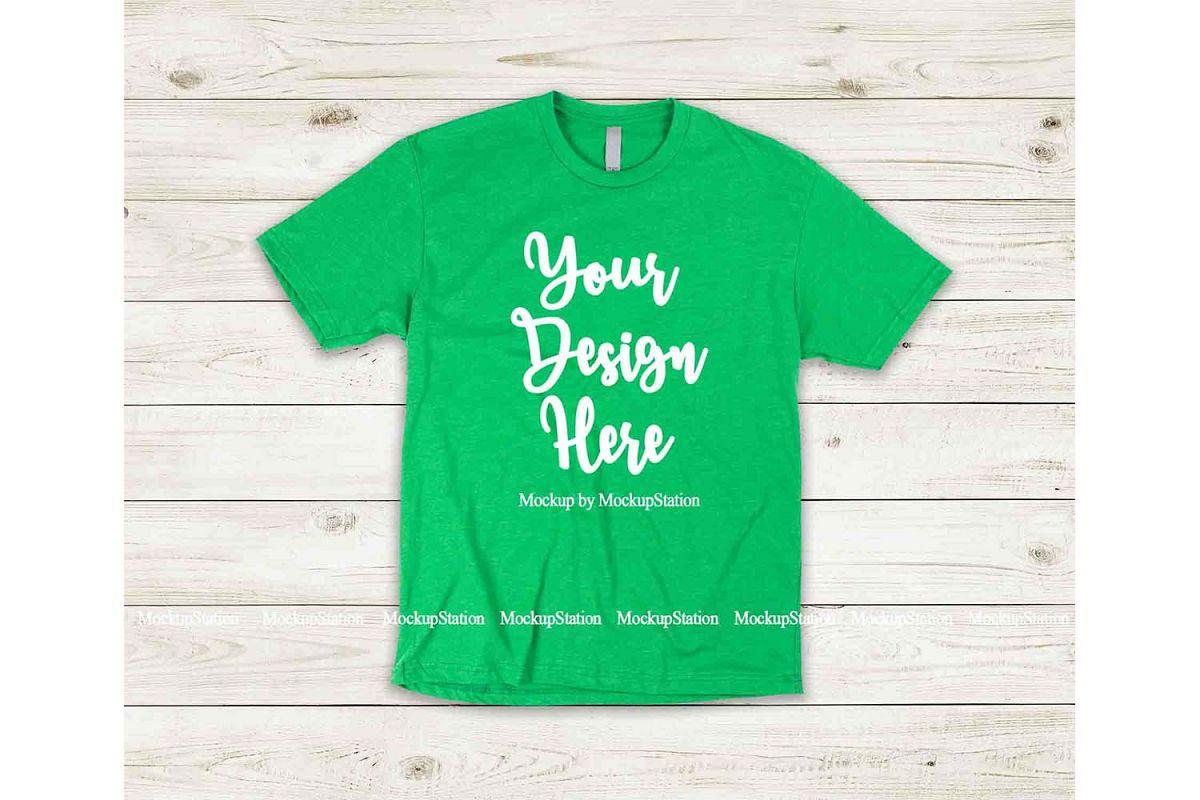 Green Shirt Mock Up, Next Level 6210 Tshirt Mockup Display example image 1