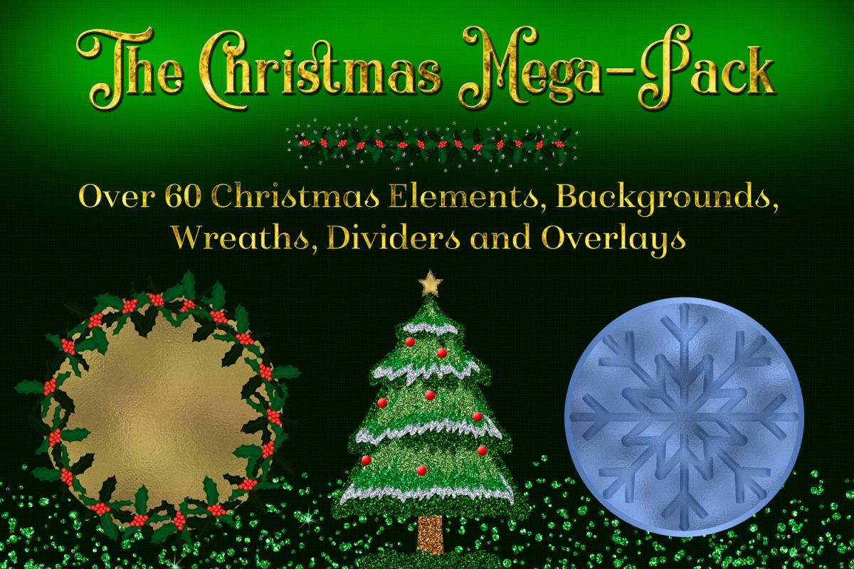The Christmas Mega-Pack - with Backgrounds, Clipart, Wreaths example image 1