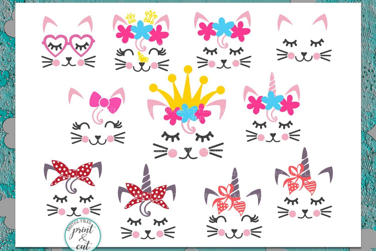 Cat Kitty face bundle with flowers hearts unicorn crown svg example image 1