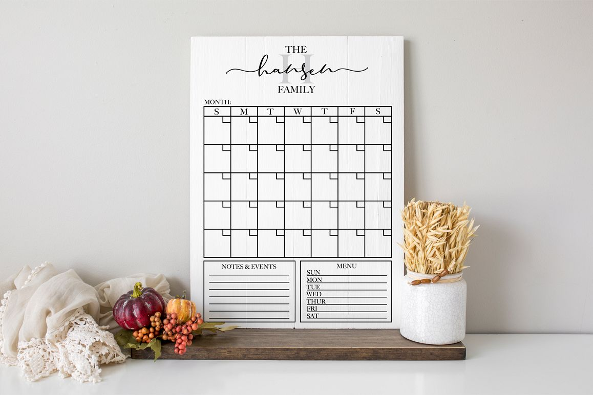 Customizable Family Calendar - Monthly Calendar SVG example image 1