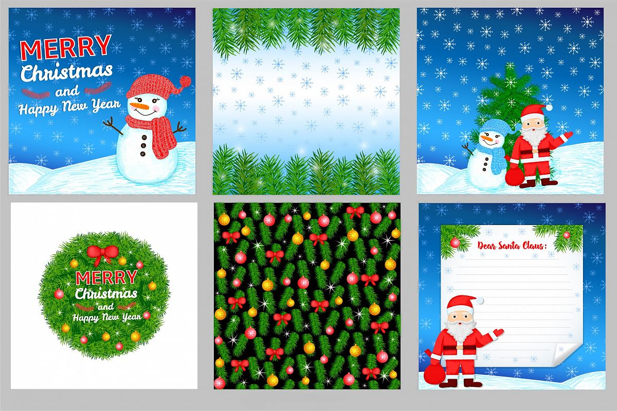 Colorful Christmas.6 New Year And Christmas Colorful Backgrounds