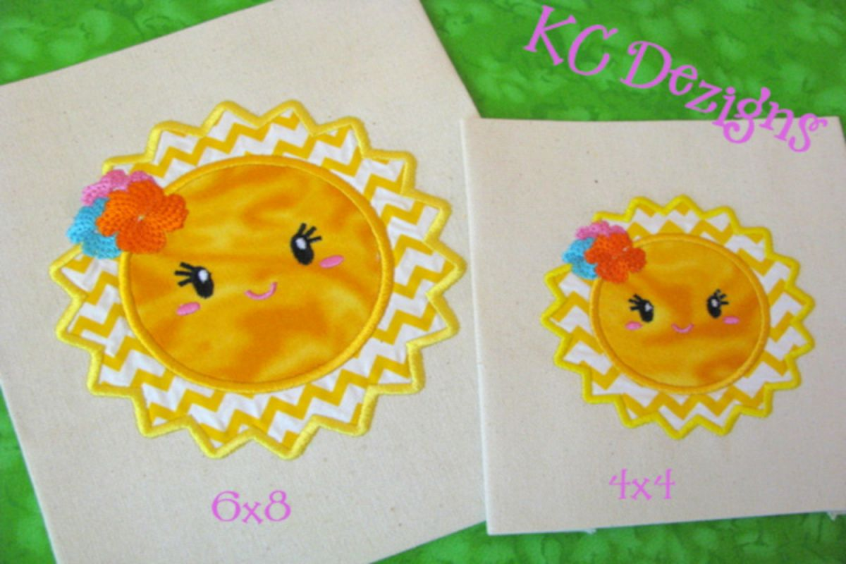 Baby sun with flowers machine applique embroidery design