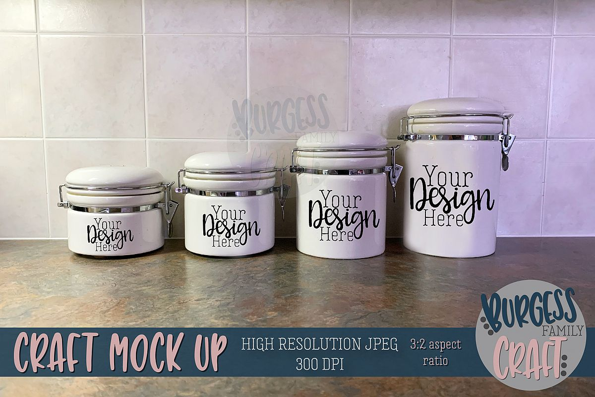 Ceramic canister on counter Craft mock up  High Res JPG example image 1